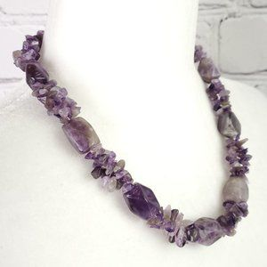 VTG Chunky Amethyst Stone and Chip Bead Necklace